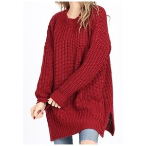 Oversized sweater chunky cable knit cranberry NWT